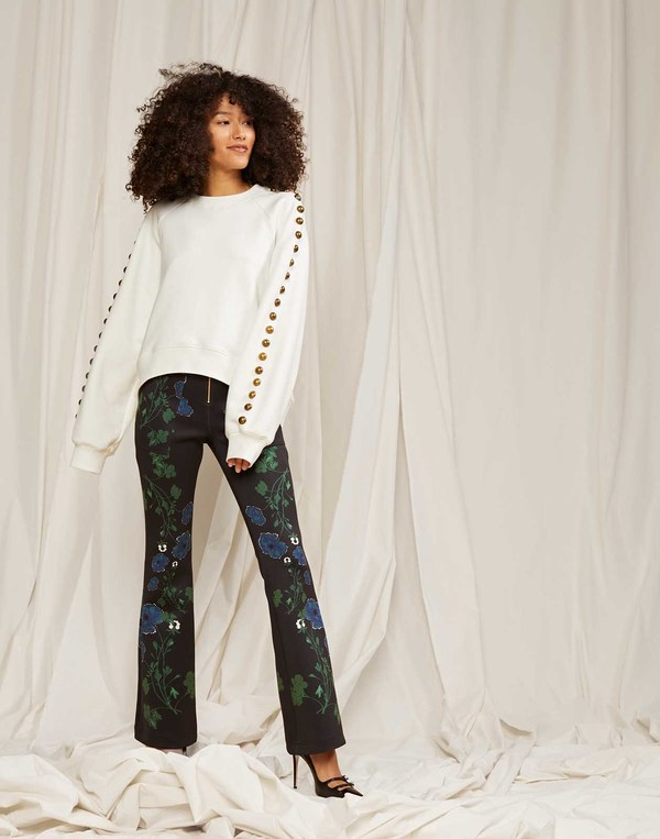 Cynthia Rowley Hunter Printed Bonded Cropped Flared Pants