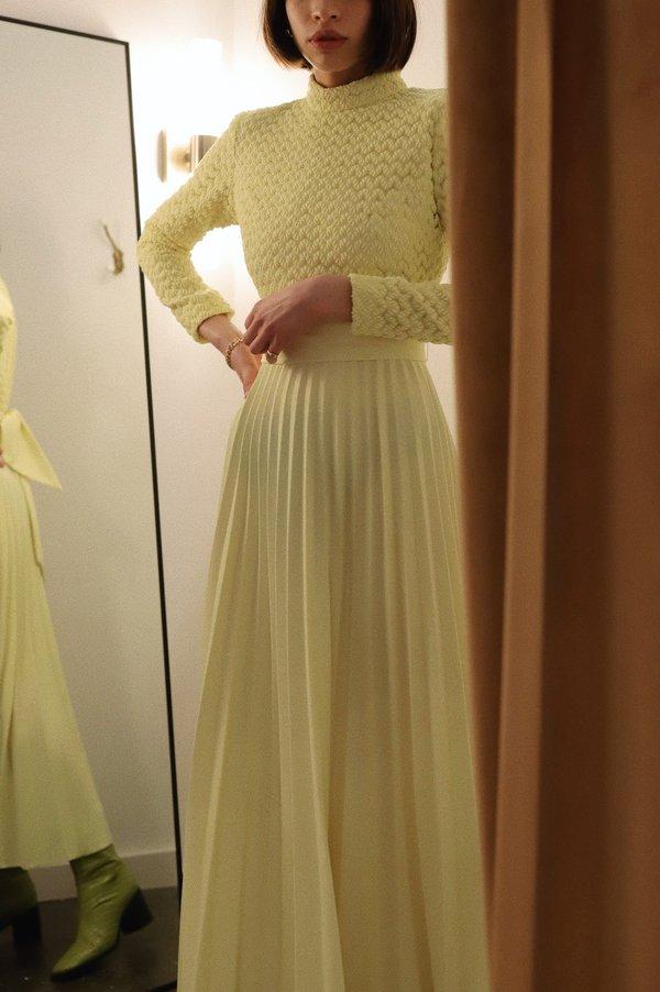 Vintage Pleated Maxi Dress - Lemon