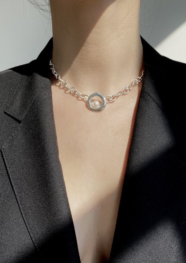 Nested Pearl Oval Chain Necklace   Sterling Silver