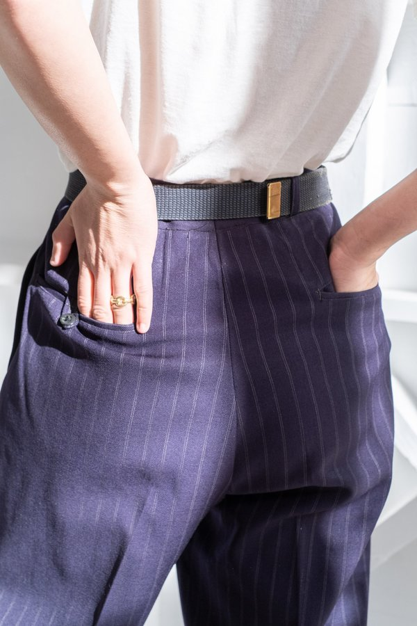 1940's NAVY PINSTRIPE TROUSERS