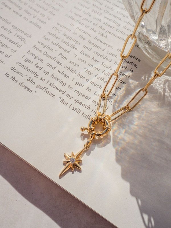 Five and Two Merritt necklace - 14k gold plated/brass