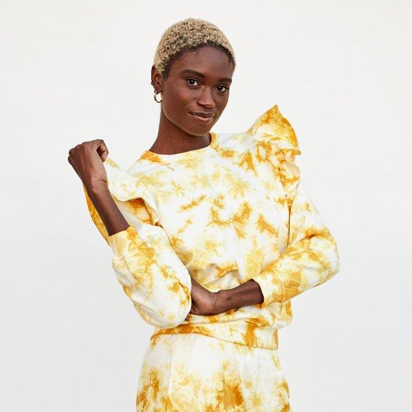 Clare V. Ruffle Sweatshirt - Marigold Cloud Tie Dye
