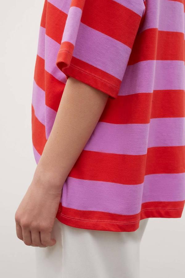 Kowtow Oversized Boxy Tee - red/purple stripe