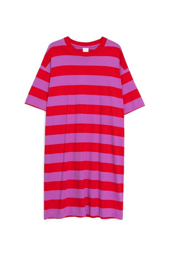 Kowtow T-Shirt Dress - Red/Purple Stripe