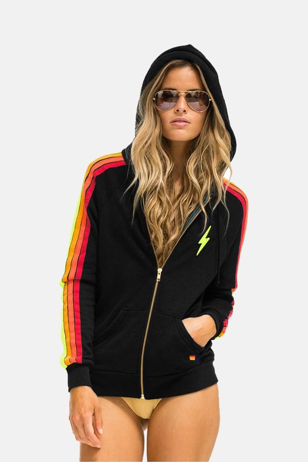Aviator Nation Classic 4 Stripe Bolt Hoodie Sweater - Black/Neon Stripe