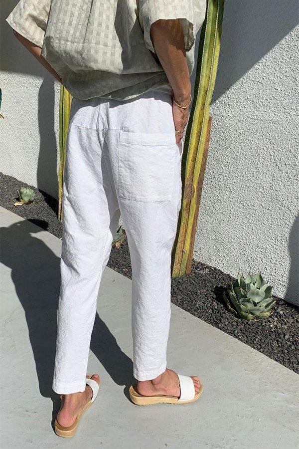 Two New York Khadi Paperbag Pant - White
