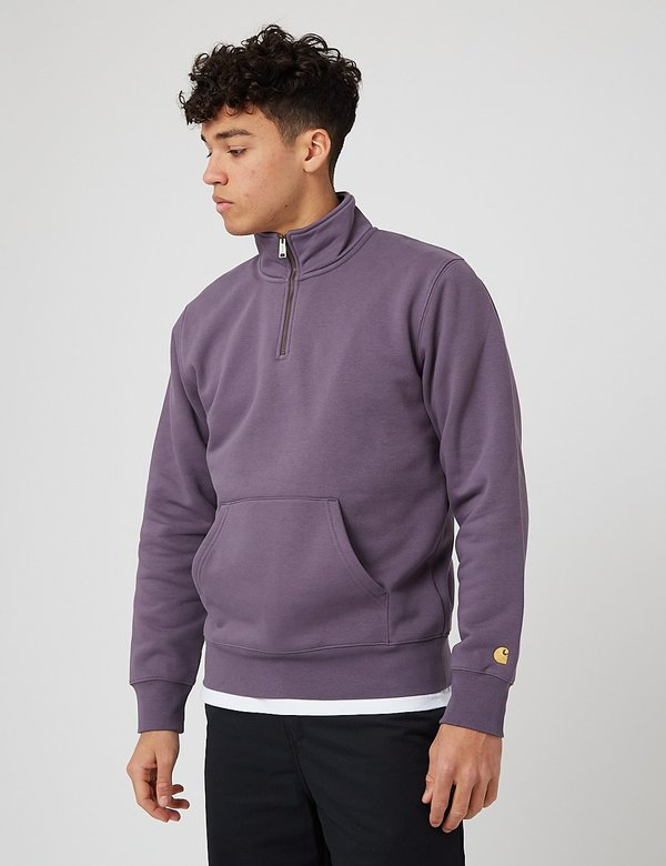 Carhartt-WIP Chase Neck Zip Sweatshirt - Provence/Gold