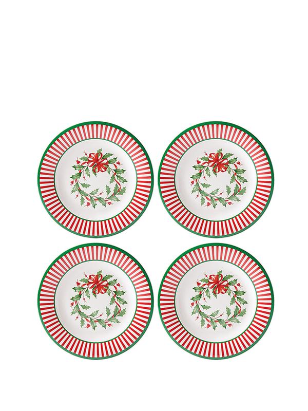 Lenox Holiday Melamine 4pc Striped Accent Plates
