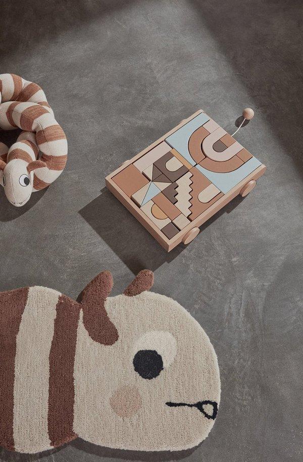 Kids OYOY WOODEN RAINBOW WAGON W/ BLOCKS Toy - Nature