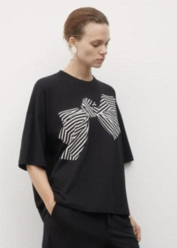 Bow Print T-shirt - Black