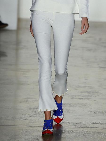 Anna K Kick-Flare Pants with Pearl Hem - White