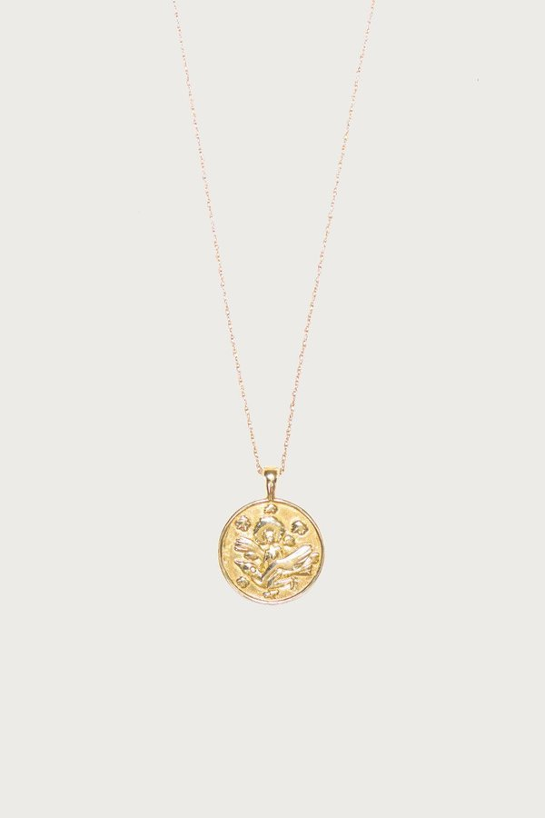 I Like It Here Club Anywhere, Anywhere Medallion Gold Plated Thin Necklace