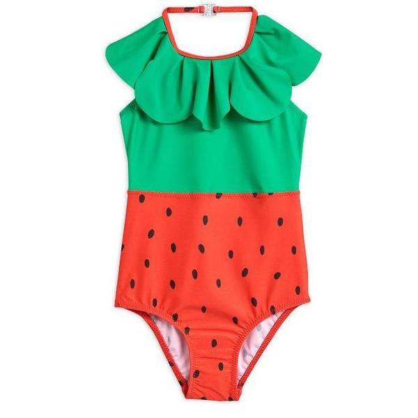 Kids Mini Rodini Strawberry Halterneck Swimsuit - Red