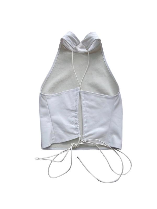 Collina Strada  Leather Rainer Top - White