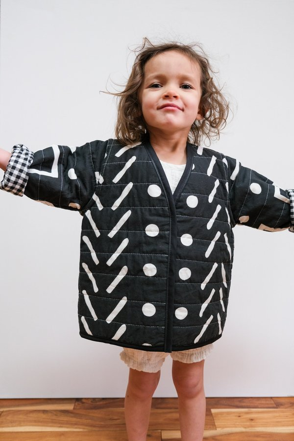 kids Candid Art Gingham & Patterns Reversible Quilted Coat - Black