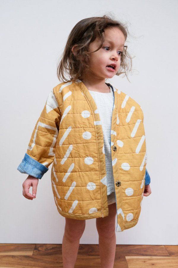 Kids Candid Art Earth & Water Reversible Quilted Coat - Blue/Orange