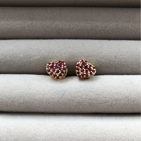 Gauhar Heart Studs Earrings - Gold/Pink