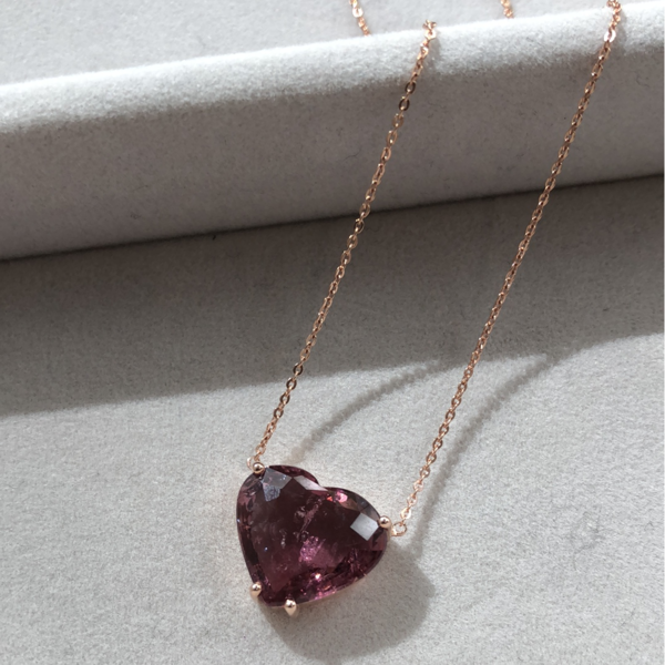 Gauhar Necklace - Rose Gold/Pink Tourmaline