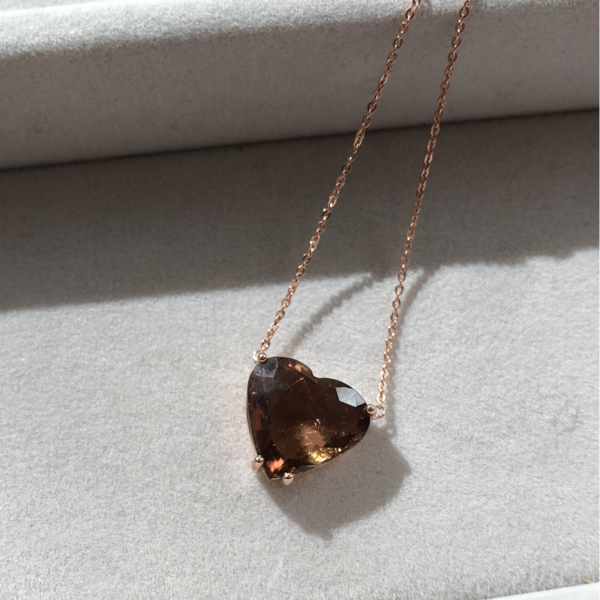 Gauhar Pendant Necklace - Rose Gold/Tourmaline