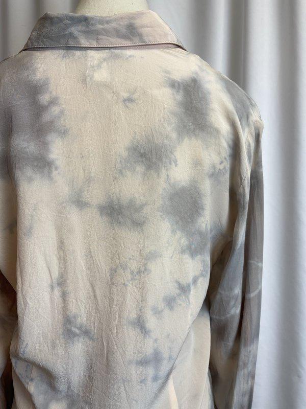 Vintage Silk Tie Dye Button Down - Blue Multi