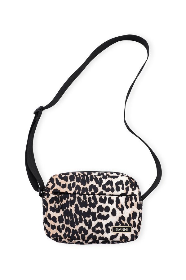 Ganni Recycled Tech Festival Crossbody Bag - Leopard