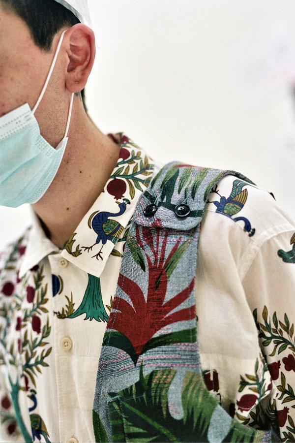 Engineered Garments Polyester  Shoulder Vest - Light Blue Big Floral Print