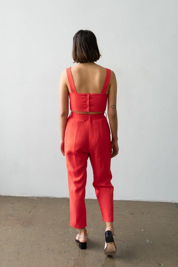 Waltz Belted Trouser - Poppy