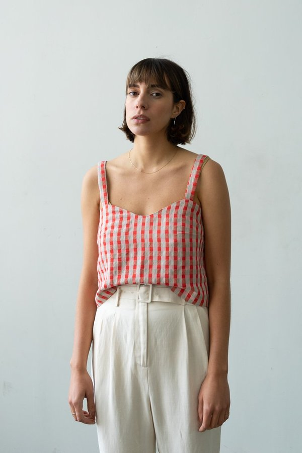 Waltz Wave Camisole - Poppy Check