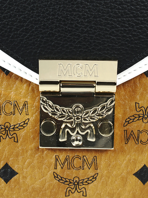 MCM PTRC VI LTHR BLOCK SHOULDER SML CB 001 bag - COGNAC/BLACK