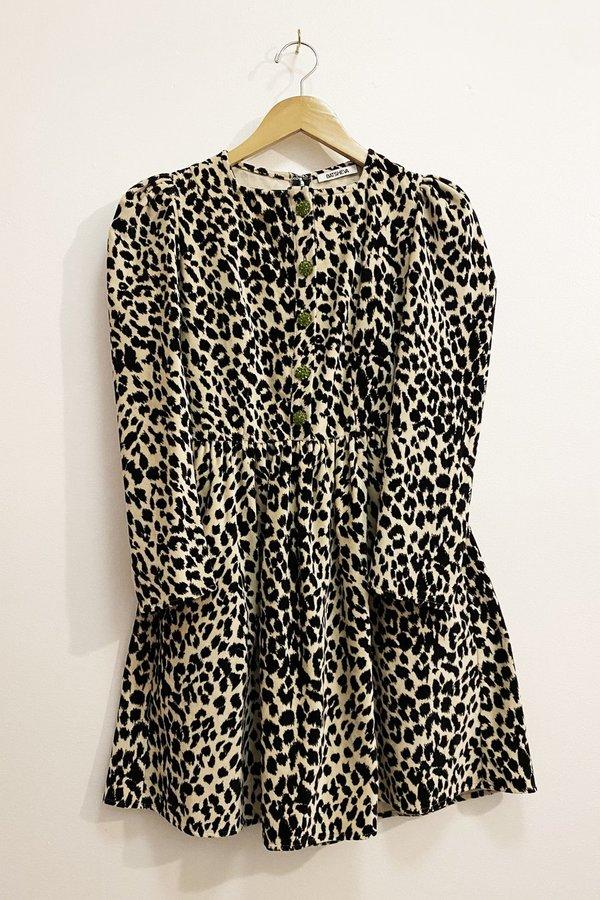 Batsheva Velvet Mini Dress - Leopard