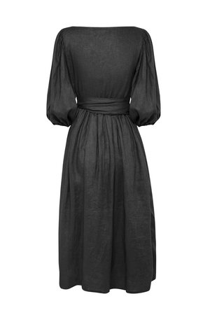 All That Remains Lia Linen Wrap Dress Noir