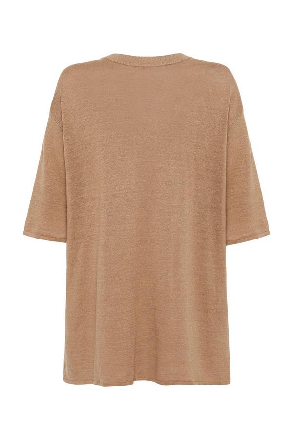 St. Agni Copain Linen Knit Tee - Almond