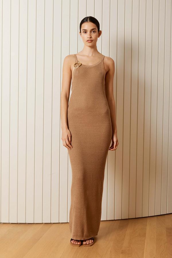 St. Agni Iman Linen Knit Tank Dress Almond