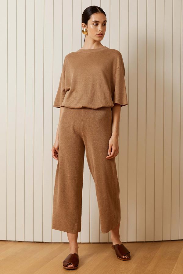 St. Agni Linen Knit Lounge Pants - Almond