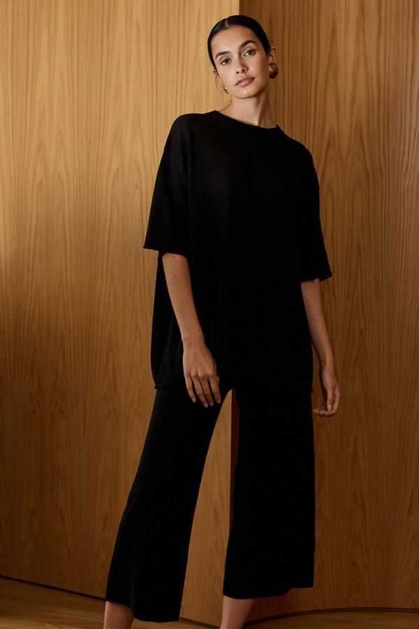 St. Agni Linen Knit Lounge Pants - Black