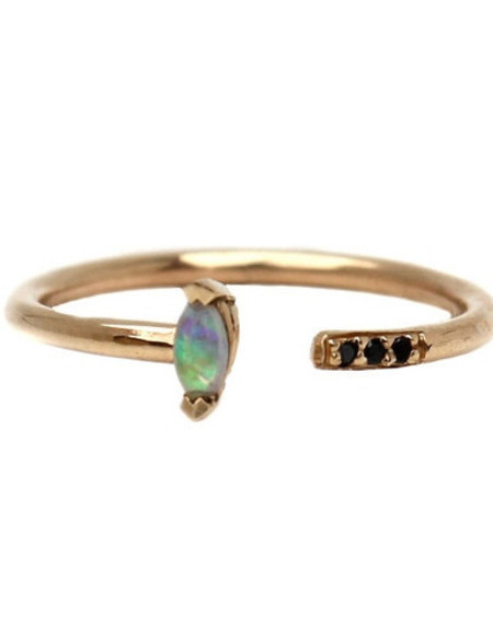Lumo Jewelry Opal Marquis Cuff Ring with Pave - 14K Yellow Gold