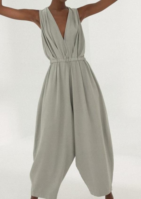 Linen Jumpsuit, Silver Blue