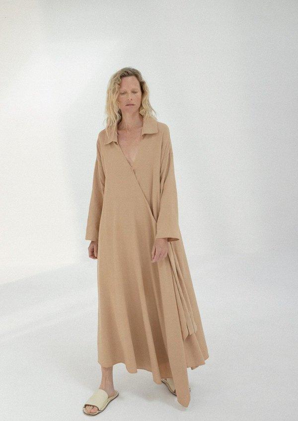 Linen Maxi Dress, Nougat