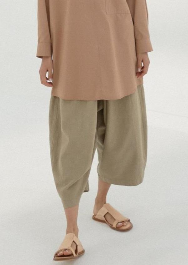Maxi Ramie Pants, Smoked Green
