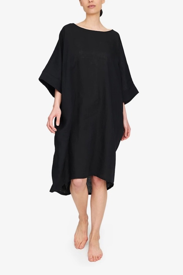 The Sleep Shirt Pocket Kaftan in Black