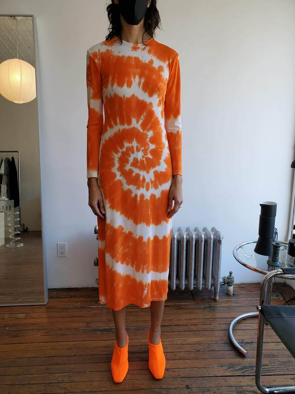 Nomia Long Sleeve Dress - Tangerine Tie-Dye
