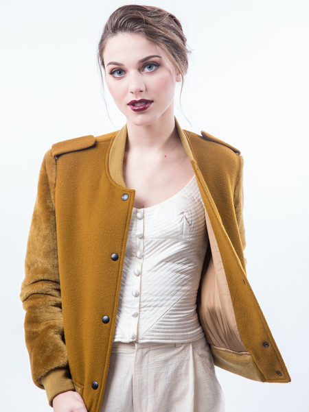 Nanushka Fur Sleeve Varisty Jacket - Curry