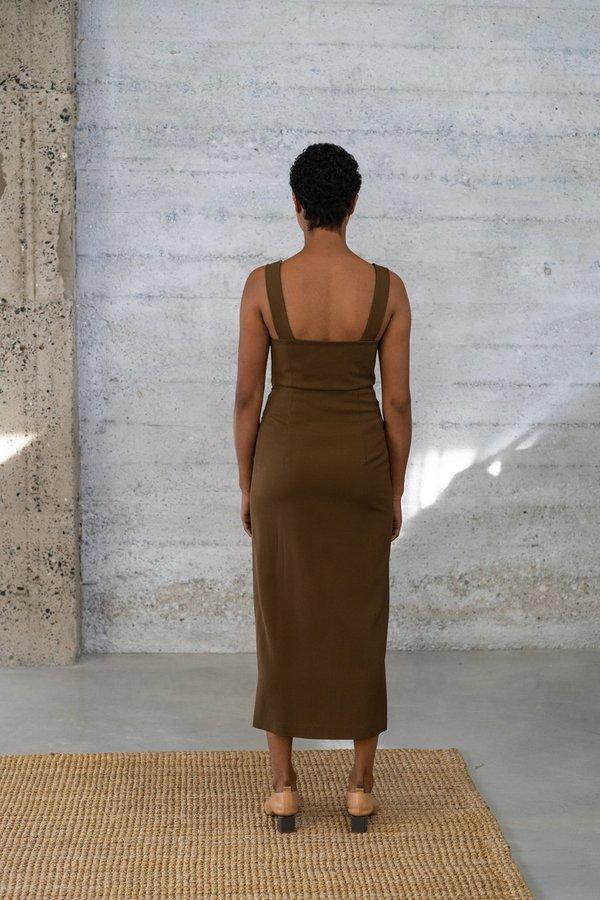 Waltz Bralette Wool/Viscose Twill Dress - Bronze