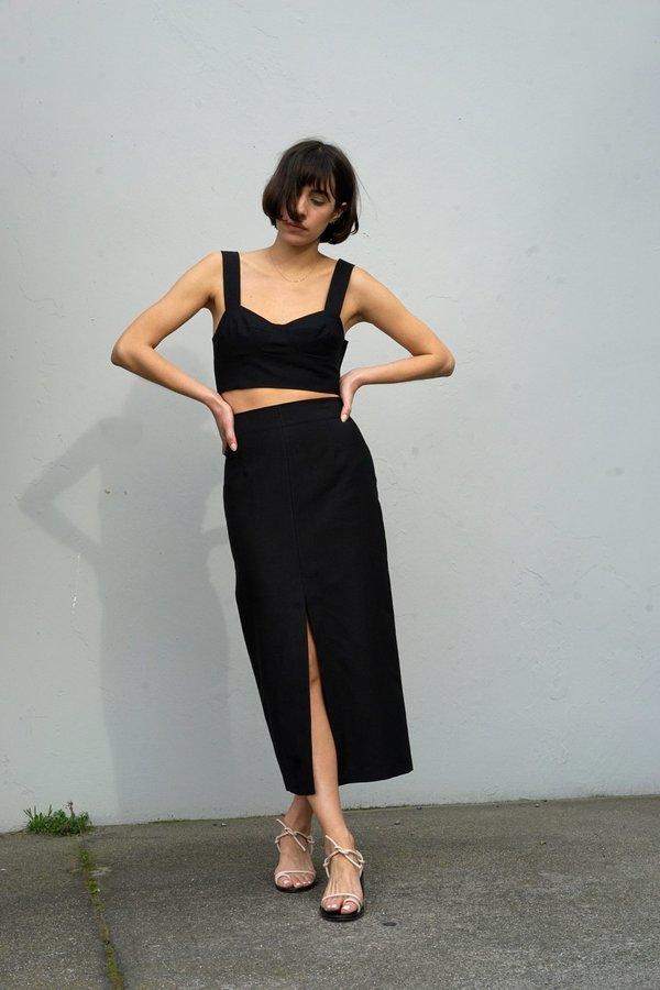 Waltz High-Waisted Linen Long Skirt - Black