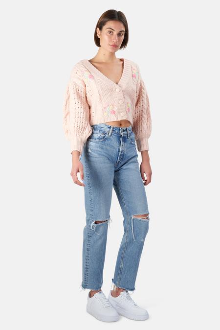 For Love & Lemons Amaryllis Cropped Cardigan Sweater - Pink