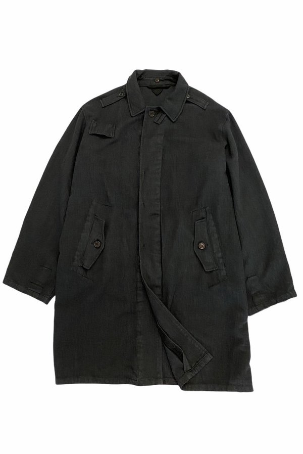 Vintage OVERDYED HUNGARIAN TRENCH COAT - washed out black
