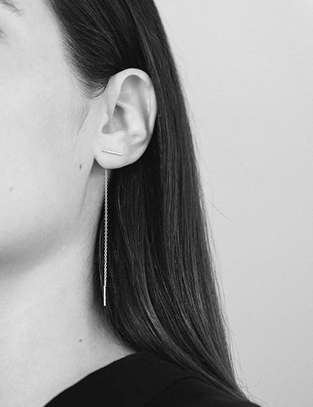 Kathleen Whitaker Gold Staple & Chain Earring