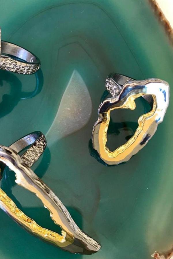 Pade Vavra Small Geode Ring - 22k gold/black platinum
