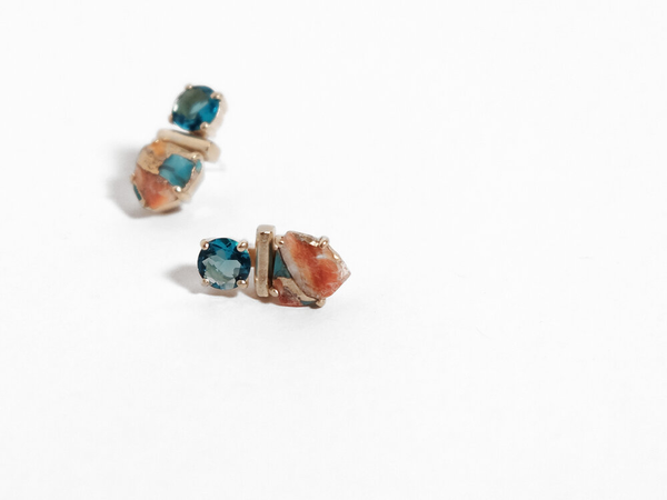 Sara Golden - Collage Stud Earrings (Turqoise)