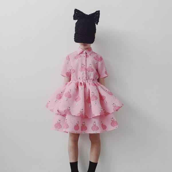 Kids caroline bosmans layered dress - poppy princess Pink